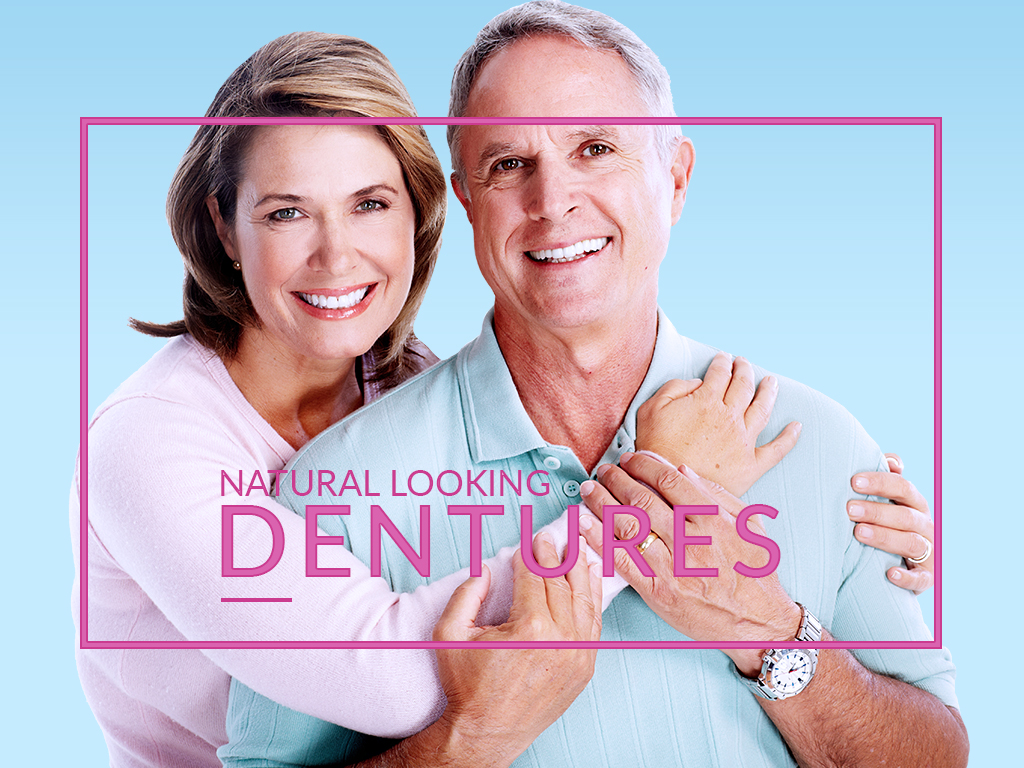 Natural looking dentures that feel and act like normal teeth.